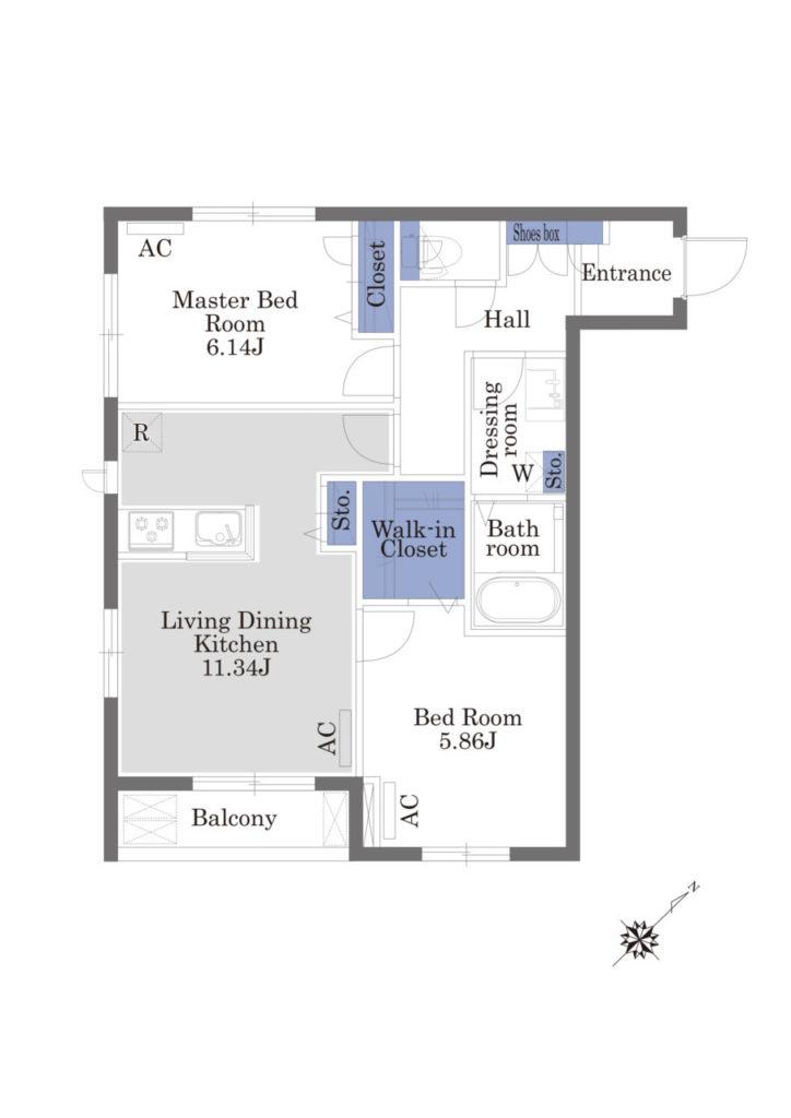 2LDKタイプの例(305号室)