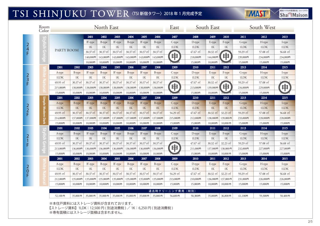 ②TSI新宿タワー 賃料表(20F-24F)※第2期 11.